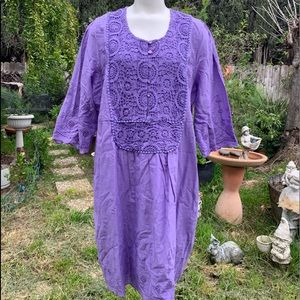 DENIM 24/7 Purple Lily Boho Embroidered Dress 18W